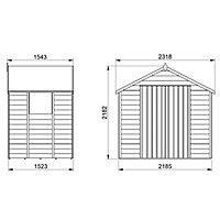 Forest Garden 7x5 Apex Pressure treated Overlap Natural Timber Wooden Shed with floor