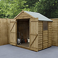 Forest Garden 7x5 Apex Pressure treated Overlap Wooden Shed with floor (Base included) - Assembly service included