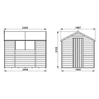 Forest Garden 8x6 Apex Dip treated Overlap Wooden Shed with floor (Base included)