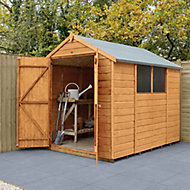 Forest Garden 8x6 Apex Dip treated Shiplap Golden Brown Shed with floor (Base included) - Assembly service included