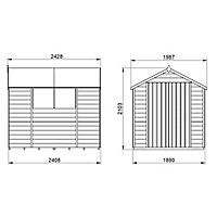 Forest Garden 8x6 Apex Pressure treated Overlap Natural Timber Wooden Shed with floor (Base included)