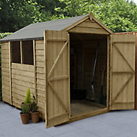 Forest Garden 8x6 Apex Pressure treated Overlap Natural Timber Wooden Shed with floor