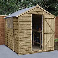 Forest Garden 8x6 Apex Pressure treated Overlap Wooden Shed with floor (Base included) - Assembly service included