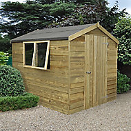 Forest Garden 8x6 Apex Pressure treated Tongue & groove Green Wooden Shed with floor - Assembly service included