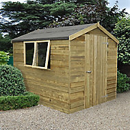Forest Garden 8x6 Apex Pressure treated Tongue & groove Green Wooden Shed with floor