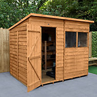 Forest Garden 8x6 Pent Dip treated Overlap Wooden Shed with floor (Base included)