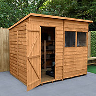Forest Garden 8x6 Pent Dip treated Overlap Wooden Shed with floor
