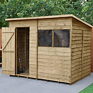 Forest Garden 8x6 Pent Pressure treated Overlap Wooden Shed with floor (Base included) - Assembly service included