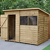 Forest Garden 8x6 Pent Pressure treated Overlap Wooden Shed with floor