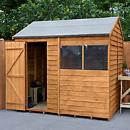 Forest Garden 8x6 Reverse apex Dip treated Overlap Golden Brown Wooden Shed with floor