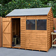 Forest Garden 8x6 Reverse apex Dip treated Overlap Wooden Shed with floor (Base included) - Assembly service included