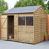 Forest Garden 8x6 Reverse apex Overlap Wooden Shed - Assembly service included