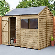 Forest Garden 8x6 Reverse apex Overlap Wooden Shed (Base included) - Assembly service included