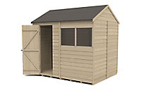 Forest Garden 8x6 Reverse apex Pressure treated Overlap Wooden Shed with floor - Assembly service included