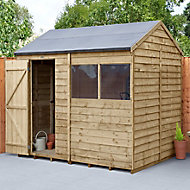 Forest Garden 8x6 Reverse apex Pressure treated Overlap Wooden Shed with floor (Base included)