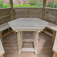 Forest Garden Furnished Hexagonal Gazebo, (W)3.78m (D)3.27m with Floor included - Assembly not required