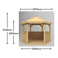 Forest Garden Furnished Hexagonal Gazebo, (W)3.78m (D)3.27m with Floor included