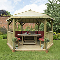 Forest Garden Furnished Timber Roof Hexagonal Gazebo (W)4900mm (D)4240mm (Red Cushion included)