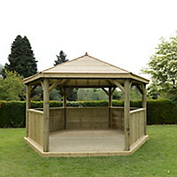 Forest Garden Hexagonal Gazebo, (W)4.9m (D)4.24m with Floor included - Assembly not required
