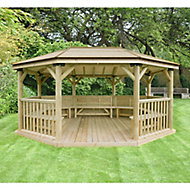 Forest Garden Premium furnished Octagonal Gazebo, (W)5.27m (D)3.78m with Floor included