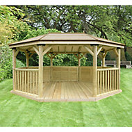 Forest Garden Premium Octagonal Gazebo, (W)5.27m (D)3.78m with Floor included - Assembly not required