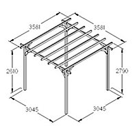 Forest Garden Square Pergola, (H)2800mm (W)3600mm