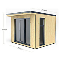 Forest Garden Xtend 10x9 Pent Tongue & groove Garden office - Assembly service included