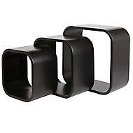 Form Cusko Black Cube Cube shelf (D)155mm, Set of 3