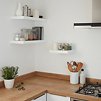 Form Cusko Gloss white Floating shelf (L)600mm (D)235mm