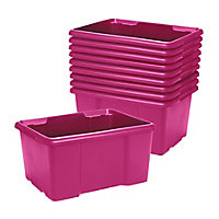 Form Fitty Pink 26L Stackable Storage box, Pack of 10