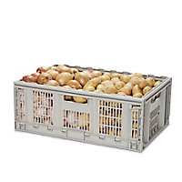 Form Foldie Heavy duty Grey 46L Polypropylene (PP) Foldable Storage crate & Lid & castors