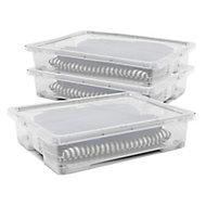 Form Kaze Clear 50L Plastic XL Storage box & Lid, Pack of 3
