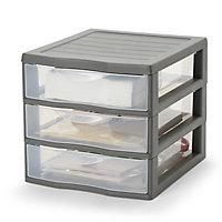 Form Kontor Clear & grey 21L 3 drawer Stackable Tower unit