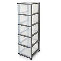 Form Kontor Clear & grey 26L 5 drawer Plastic Tower unit