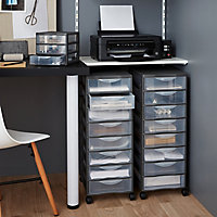 Form Kontor Clear & grey 33L 8 drawer Stackable Tower unit