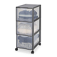 Form Kontor Clear & grey 44L 3 drawer Stackable Tower unit