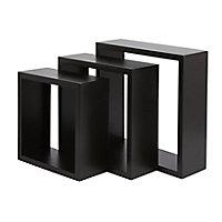 Form Rigga Black Cube Cube shelf (D)98mm, Set of 3