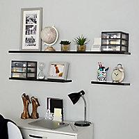 Form Rigga Black Wall shelf (L)1180mm (D)190mm
