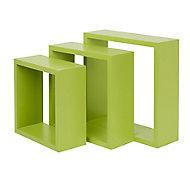 Form Rigga Green Cube Cube shelf (D)98mm, Set of 3
