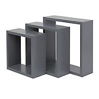 Form Rigga Grey Cube Cube shelf (D)98mm, Set of 3