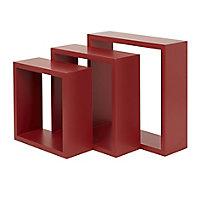 Form Rigga Red Cube Cube shelf (D)98mm, Set of 3