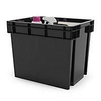Form Xago Heavy duty Grey 24L Stackable Storage box & Clip handles & lids, Pack of 2