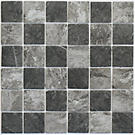 Formation Grey & white Glass & marble Mosaic tile, (L)300mm (W)300mm