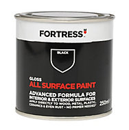 Fortress Black Gloss Multi-surface paint, 250ml