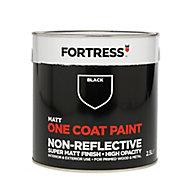 Fortress One coat Black Matt Metal & wood paint, 2.5L