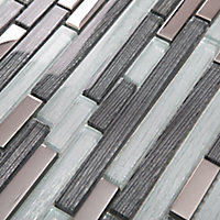 Foxe Grey muretto Glass effect Glass & stainless steel Mosaic tile sheets, (L)300mm (W)300mm