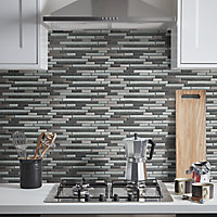 Foxe Grey muretto Glass & stainless steel Mosaic tile sheet, (L)300mm (W)300mm