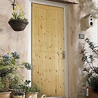 Framed, ledged & braced Knotty pine LH & RH External Front Door, (H)1981mm (W)838mm