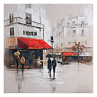 French café scene Multicolour Canvas art (H)800mm (W)800mm
