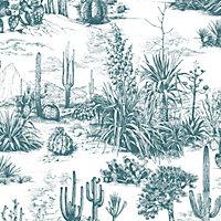 Fresco Arizona Teal Cacti Smooth Wallpaper